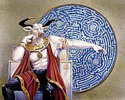 Maze Mixed Media Originals - Minotaur with Mosaic by Melissa A Benson