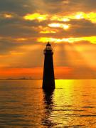 Sunset Seascape Photo Prints - Minots Ledge Lighthouse Print by Joseph Gillette