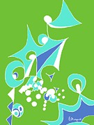 Crisp Drawings Posters - Mint Abstract Poster by Barbara Moignard