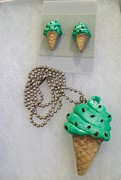 Woman Gift Jewelry - Mint Chip Ice Cream by Kristin Lewis