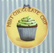 Blue And White Painting Prints - Mint Chocolate Chip Cupcake Print by Catherine Holman