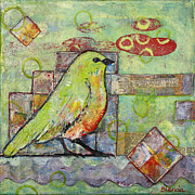 Square Tapestries Textiles Originals - Mint Green Bird Art by Blenda Studio