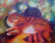 Cat Paintings - Minx and Sass by Holly Hertig