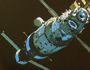 Manned Space Flight Art - Mir Space Station In Orbit Seen From Soyuz by Ria Novosti