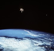 Spaceflight Art - Mir Space Station Over The Earth by NASA / Science Source
