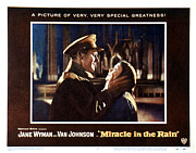 Lobbycard Photo Framed Prints - Miracle In The Rain, Van Johnson, Jane Framed Print by Everett