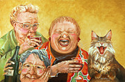 Cat Paintings - Miriams Tea Party by Shelly Wilkerson