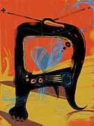Abstract Painter Posters - Miro andMax Watch Lucy Poster by Russell Pierce