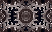 Kaleidoscope Metal Prints - Mirror Gears Metal Print by Steve Gadomski