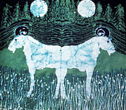 Grass Tapestries - Textiles Posters - Mirror Image Goats in Moonlight Poster by Carol Law Conklin