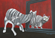 Stripy Framed Prints - Mirror Image Framed Print by Jutta Maria Pusl