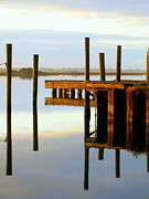 Boat Docks Framed Prints - Mirror Image Framed Print by Karen Wiles