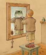 Frog Drawings - Mirror by Kestutis Kasparavicius