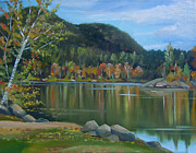Mirror Paintings - Mirror Lake in Woodstock New Hampshire by Nancy Griswold