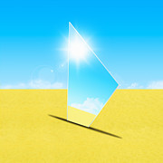 Glassy Posters - Mirror On Sand In Blue Sky Poster by Setsiri Silapasuwanchai