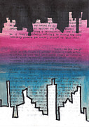 Mirror Drawings Prints - Mirrored Skyline Print by Jera Sky