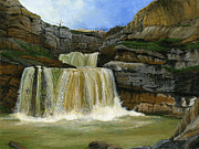 Kosovo Paintings - Mirusha Falls in Kosovo by Carlene Salazar