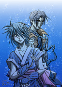 Switzerland Drawings Posters - Misao and Aoshi Poster by Tuan HollaBack