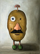 Humor. Paintings - Misfit Potato Head 2 by Leah Saulnier The Painting Maniac