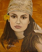 Portraits Art - Miss Autumn Marigold by Veronica Coulston