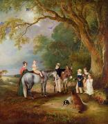 Horse And Cart Photos - Miss Catherine Herrick with her Nieces and Nephews by John E Ferneley