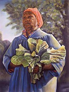 Spiritual Pastels Posters - Miss Emmas Collard Greens Poster by Curtis James
