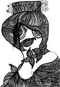 Wall Hanging Drawings - Miss Flo by Donna Marie G