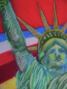 Icon Pastels Posters - Miss Liberty Poster by Emily Michaud