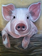 Pig Pastels Prints - Miss Piggy Print by Stephanie L Carr