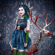 Bloody Digital Art - Miss Ruby and her pet by Ausra Kel