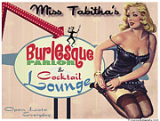 Retro Pinup Prints - Miss Tabithas Burlesque Parlor Print by Cinema Photography