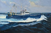Tall Ships. Marine Art Paintings - Miss Trish II - bow view by Phil Cusumano