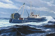 Tall Ships. Marine Art Paintings - Miss Trish II - stern view by Phil Cusumano