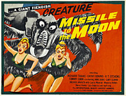 Plunging Neckline Framed Prints - Missile To The Moon, Half-sheet Poster Framed Print by Everett