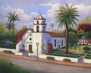Flower Boxes Paintings - Mission Buenaventura  by Grace Nikander