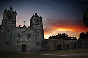 Light Blue Grey Posters - Mission Concepcion at Sunrise Poster by Melany Sarafis