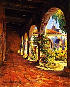 San Juan Prints Paintings - Mission Corridor San Juan Capistrano by Pg Reproductions