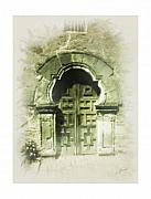 Mission Church Framed Prints - Mission Espada Chapel Door Framed Print by Cliff Hawley
