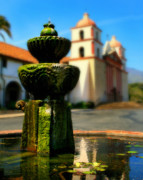 Southwestern Fountain Prints - Mission Fountain Print by Perry Webster