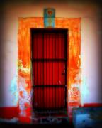 Cross-bar Framed Prints - Mission red door Framed Print by Perry Webster