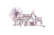 Freehand Drawings Framed Prints - Mission San Juan Capistrano Framed Print by Steve Huang