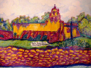 Historical Buildings Drawings Prints - Mission San Juan in San Antonio TX Print by Monique Montney