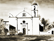 Roman Mixed Media Framed Prints - Mission San Luis Rey BW Framed Print by Kip DeVore
