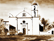 Roman Mixed Media Framed Prints - Mission San Luis Rey in Sepia Framed Print by Kip DeVore