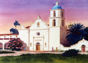 Oceanside Painting Prints - Mission San Luis Rey Print by Mary Helmreich