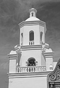 Black And White Religious Art Framed Prints - Mission San Xavier del Bac - Steeple detail in Black and White Framed Print by Suzanne Gaff