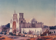 Churches Posters - Mission San Xavier Del Bac Tucson Poster by Mary Helmreich