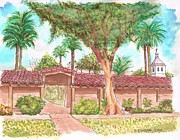 Watercolors Painting Originals - Mission-Santa-Clara-de-Asis-California by Carlos G Groppa