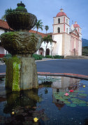 California Prints Prints - Mission with Fountain 3 Print by Kathy Yates