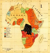 Africa Drawings Framed Prints - Missionary Map of Africa Framed Print by Pg Reproductions